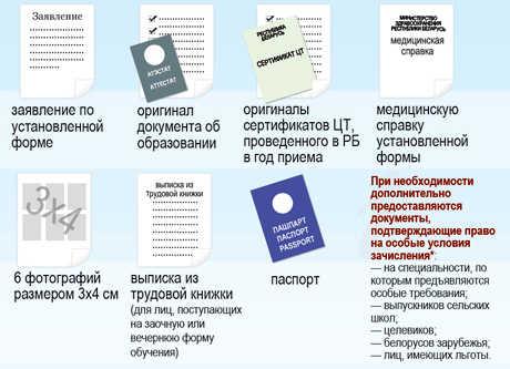 Документы для поступающих в колледж