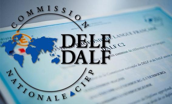 Эмблема на фоне сертификата DALF C2