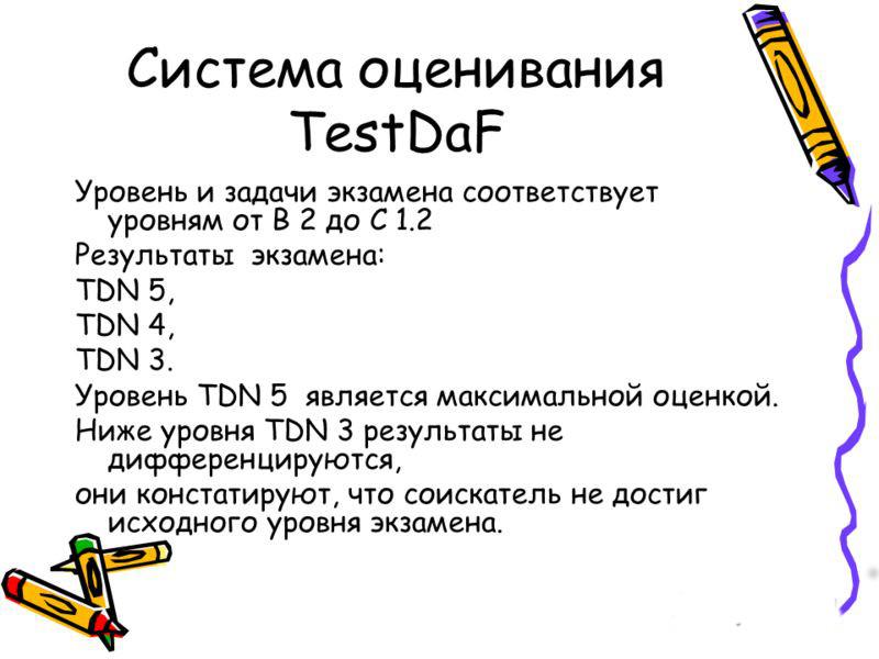 Шкала оценок TestDAF