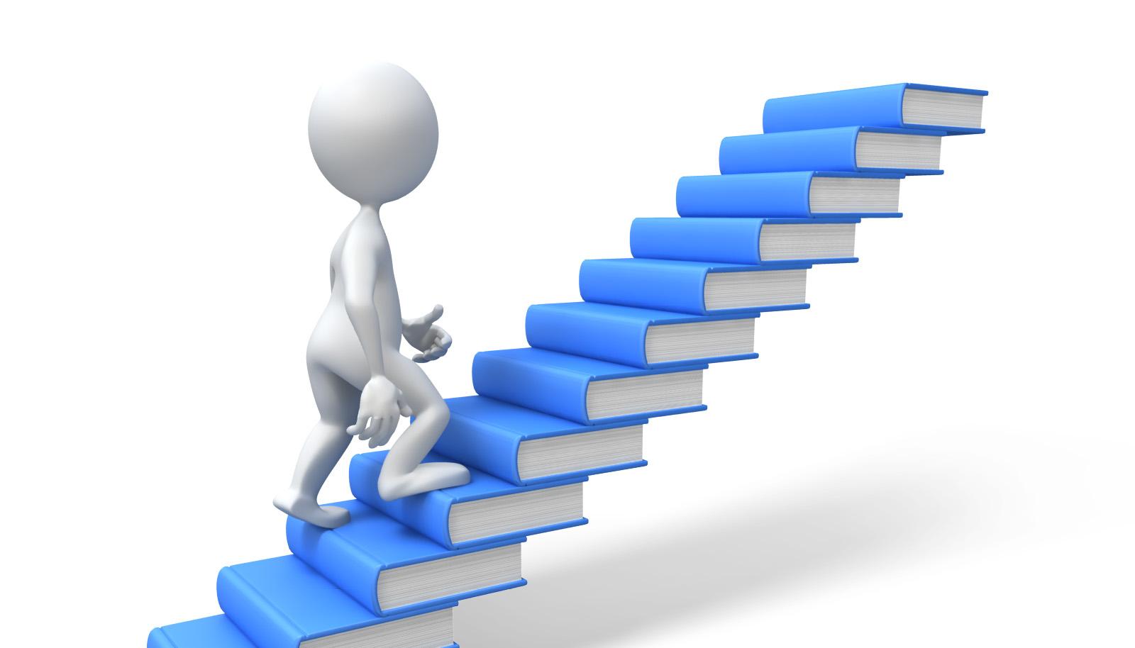 Человечек взбирается по лестнице из книг