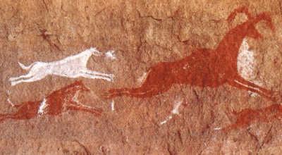 Наскальный рисунок с изображением охоты с собаками