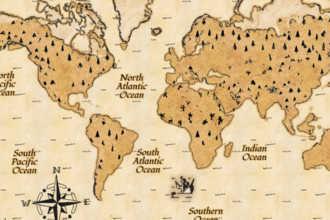 Старая бумажная карта планеты