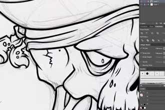 Зарисовка скелета пирата
