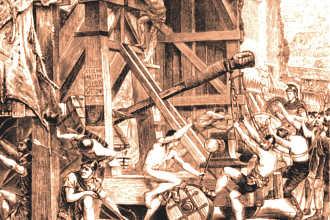 Управление катапультой инженерами в средневековье