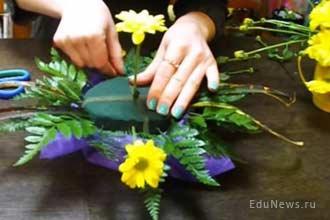 Сбор букета цветов