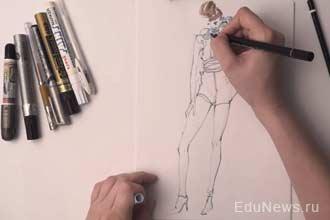 Зарисовка эскиза одежды