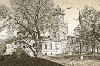 Графический рисунок с изображением городской улицы