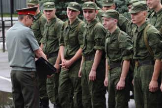 На построении в армии