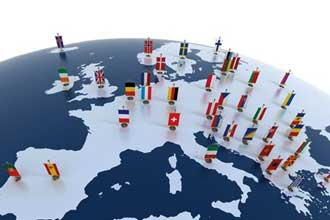 Флажки европейских стран на карте