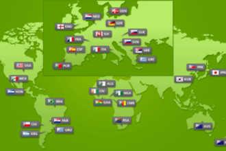 Изображение флагов на карте мира