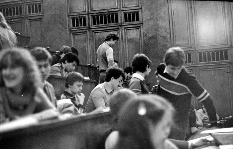 Студенты советского вуза на лекции