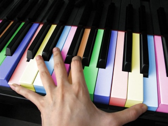 Пианино с разноцветными клавишами