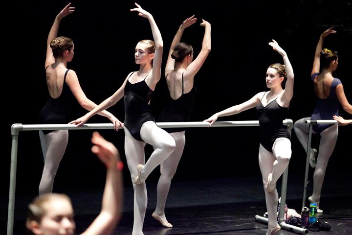 Девушки занимаются у балетного станка