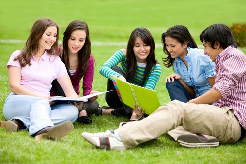 Группа студентов сидит на газоне