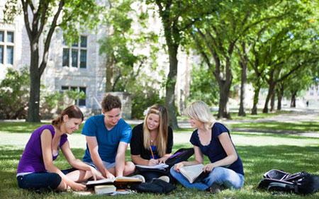 Группа молодых людей во дворе учебного заведения