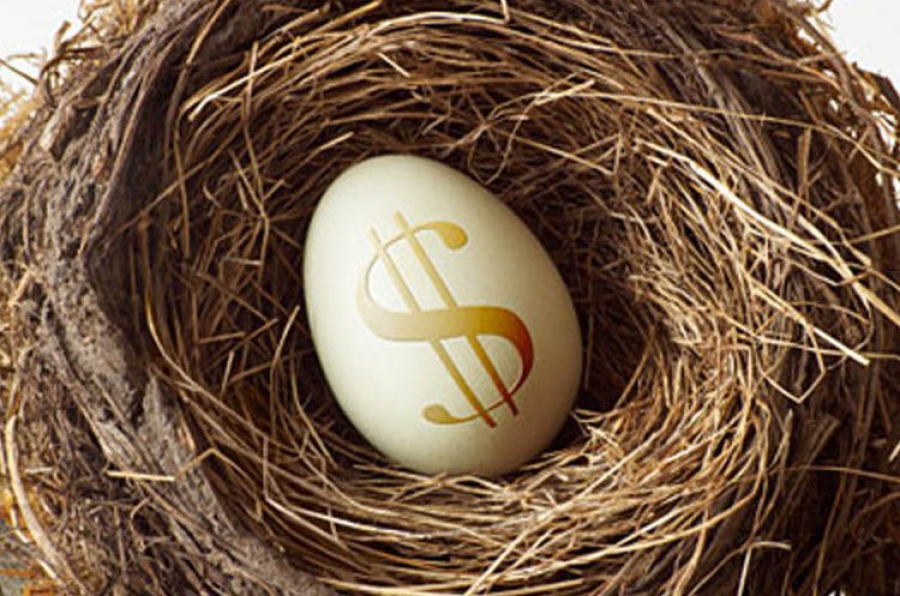 Яйцо со знаком доллара в импровизированном гнезде