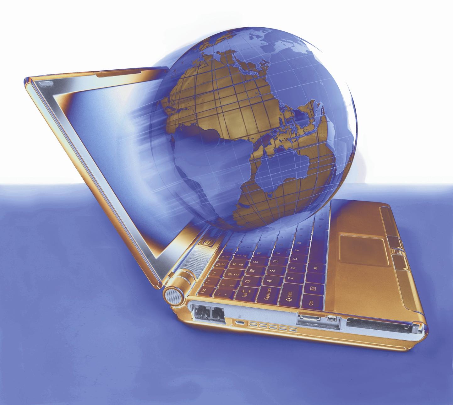 ноутбук и земной шар