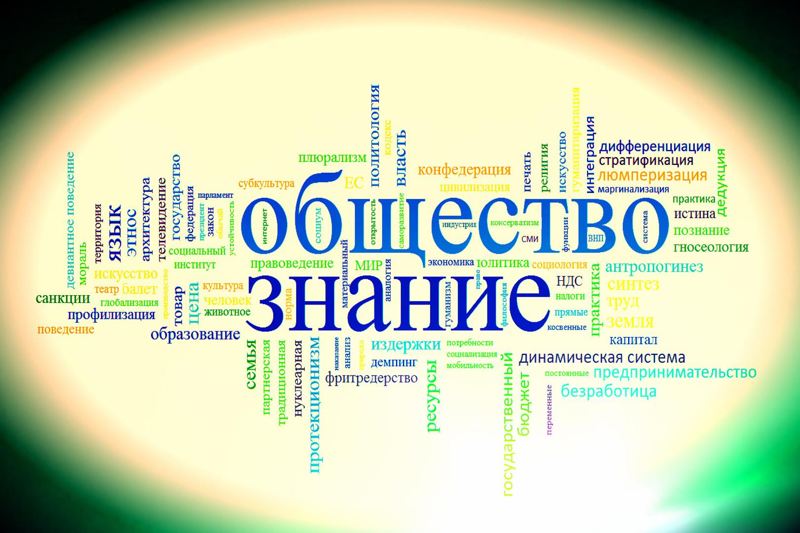 Слово обществознание на фоне других слов